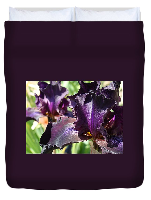 �irises Artwork� Duvet Cover featuring the photograph Deep Purple Irises Dark Purple Irises Summer Garden Art Prints by Baslee Troutman