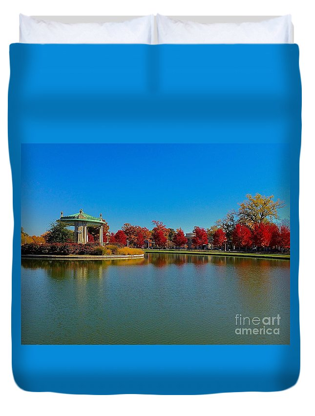 Reflections Duvet Cover featuring the photograph Deep Red At The Muny by Debbie Fenelon