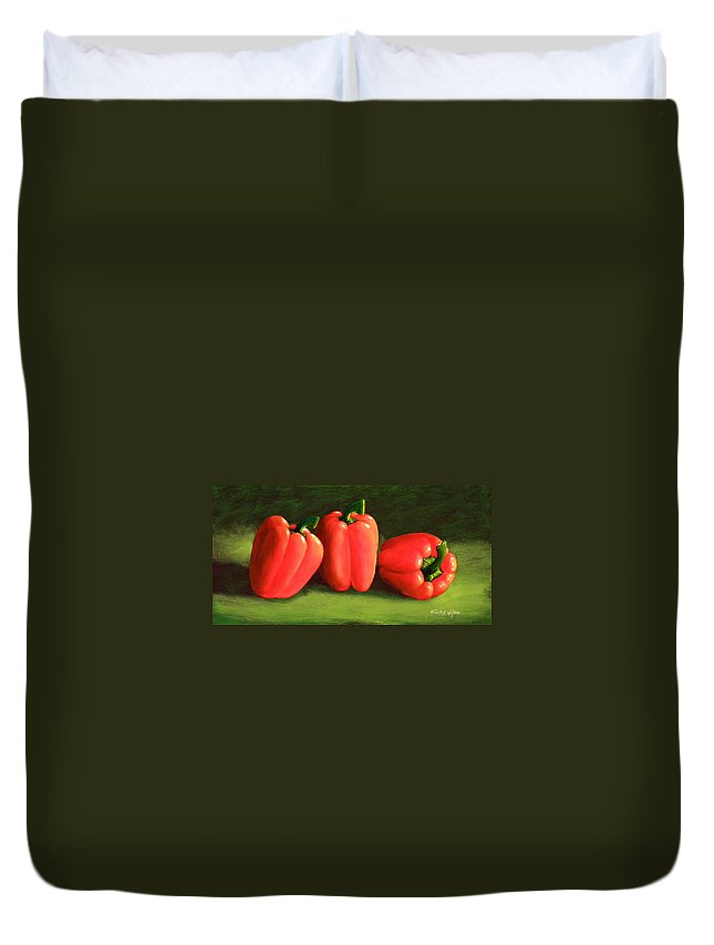 Peppers Duvet Cover featuring the painting Deep Red Peppers by Frank Wilson