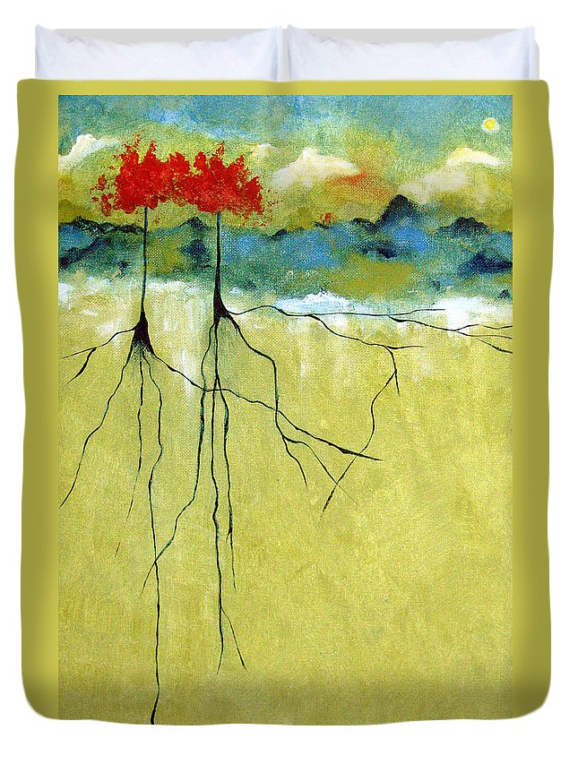 Abstract Duvet Cover featuring the painting Deep Roots by Ruth Palmer