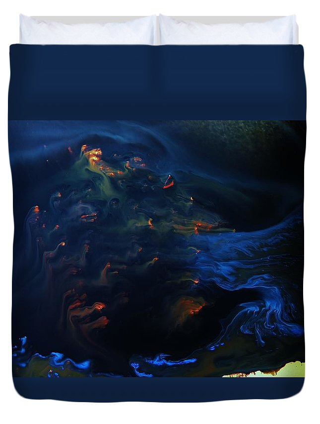 Surreal Duvet Cover featuring the painting Deep Sea Secret Of The Mystery by Jon Bibire