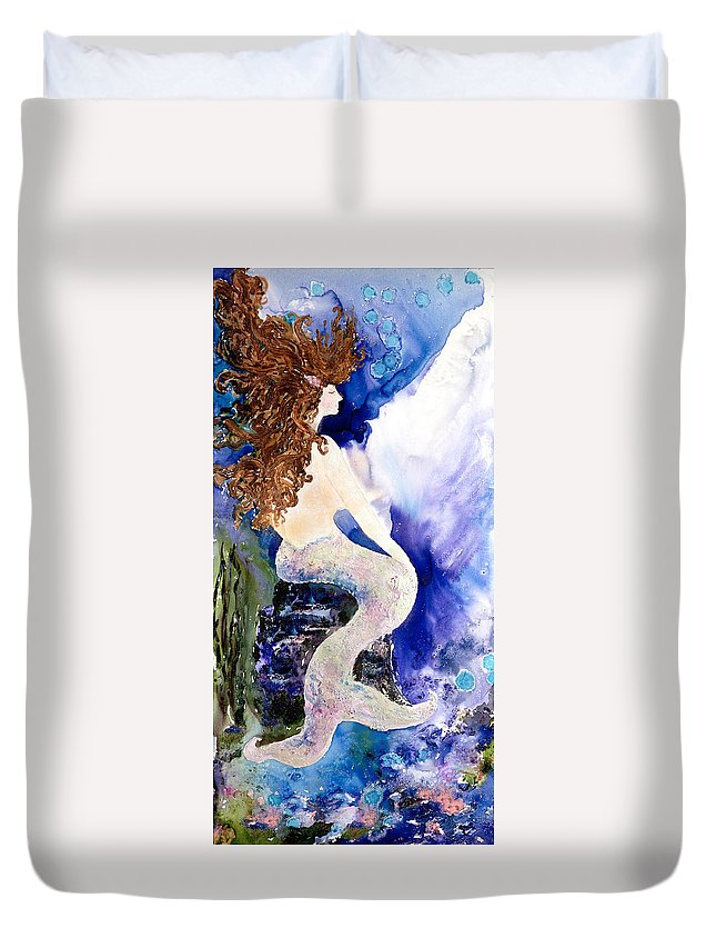 Watermedia Duvet Cover featuring the painting Deep Sea Tranquility by Barbara Colangelo