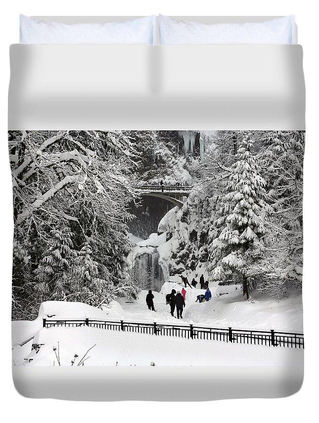 Deep Snow Multnomah Falls Duvet Cover featuring the photograph Deep Snow Multnomah Falls by Wes and Dotty Weber