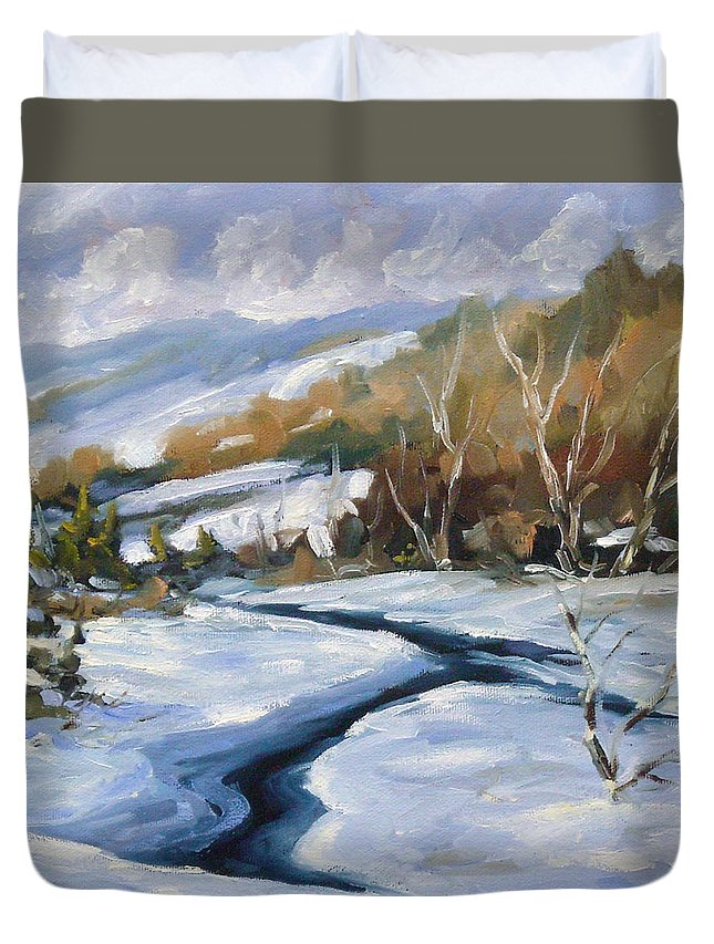 Art Duvet Cover featuring the painting Deep Snow by Richard T Pranke