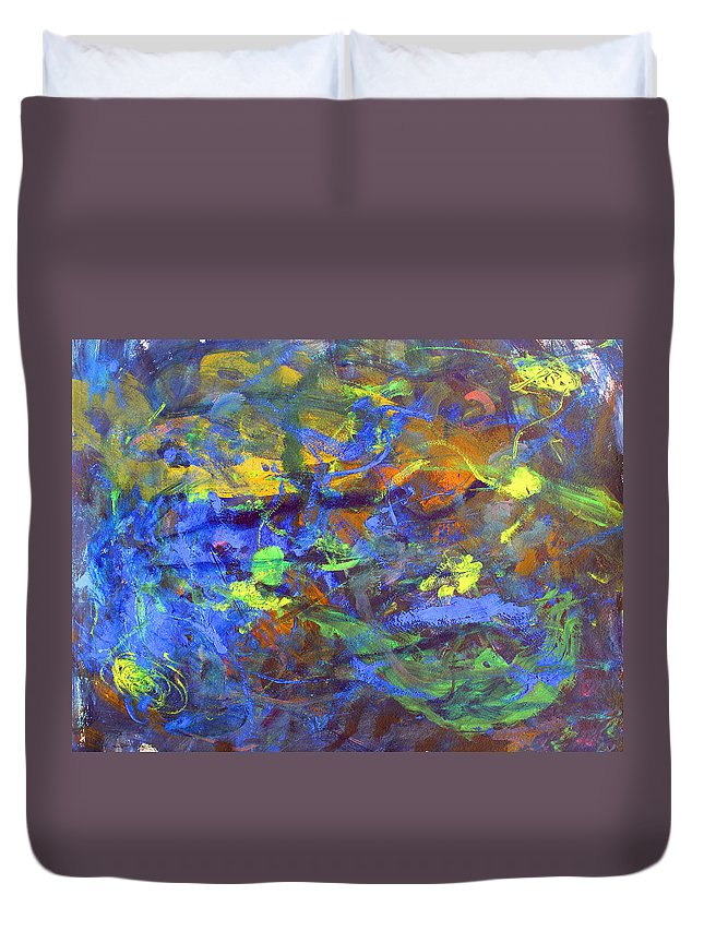 Abstract Duvet Cover featuring the painting Deep Space Abstract Art by Lee Serenethos