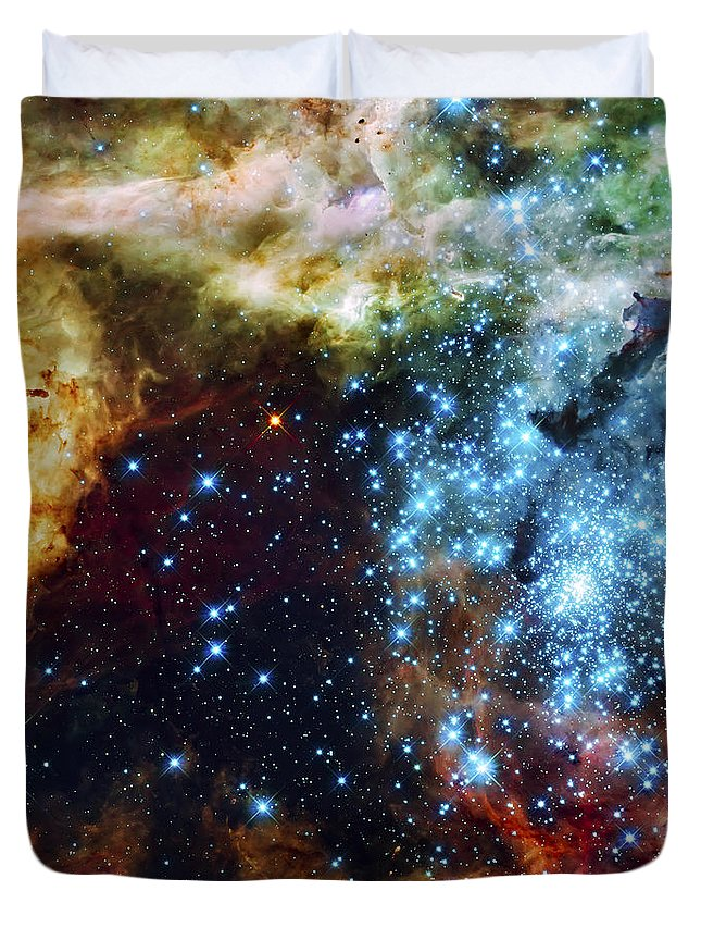 Nebula Duvet Cover featuring the photograph Deep Space Fire And Ice 2 by Jennifer Rondinelli Reilly - Fine Art Photography