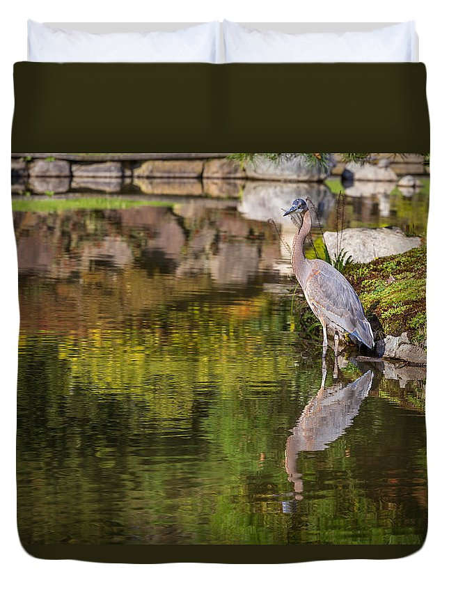 Heron Duvet Cover featuring the photograph Deep Thought by Calazone's Flics