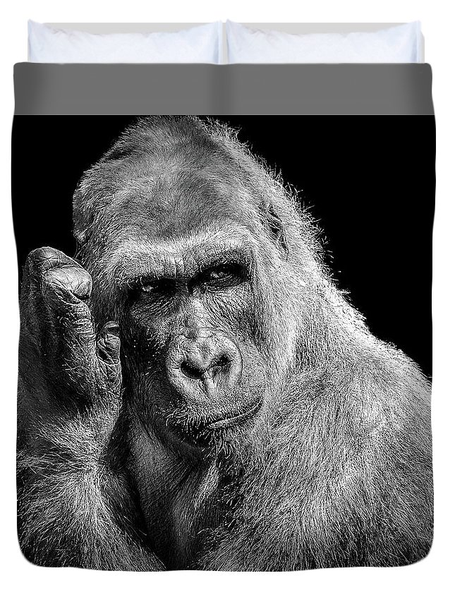 Gorilla Duvet Cover featuring the photograph Deep Thought by Hugh Mobley