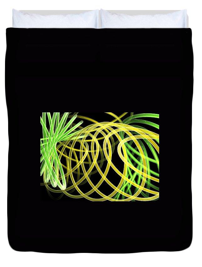Green Duvet Cover featuring the digital art Deep Trance by Scott Piers