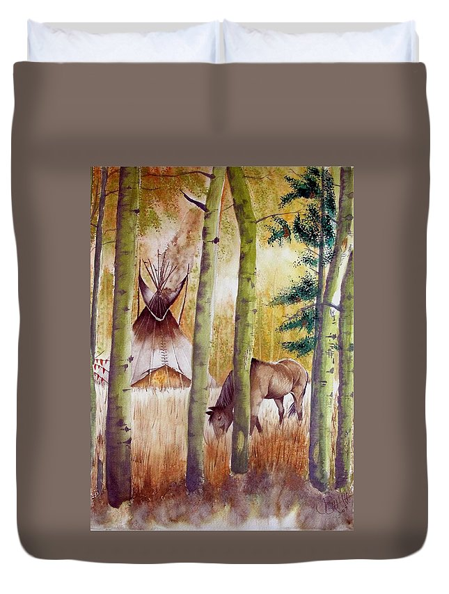 American Duvet Cover featuring the painting Deep Woods Camp by Jimmy Smith