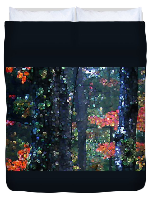 Landscape Duvet Cover featuring the digital art Deep Woods Mystery by Dave Martsolf