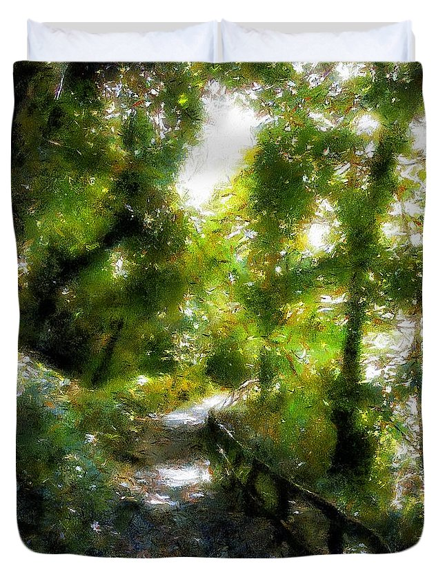 Fence Duvet Cover featuring the painting Deeper Into The Greenwood by RC DeWinter
