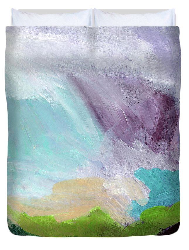 Abstract Duvet Cover featuring the painting Deepest Breath- Abstract Art by Linda Woods by Linda Woods