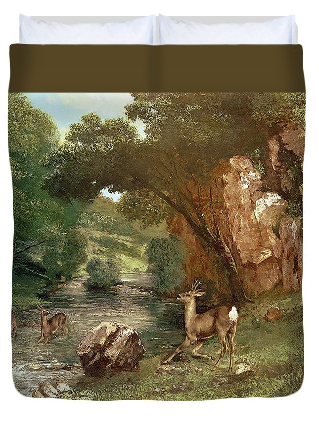 Deer Duvet Cover featuring the photograph Deer By A River by Gustave Courbet