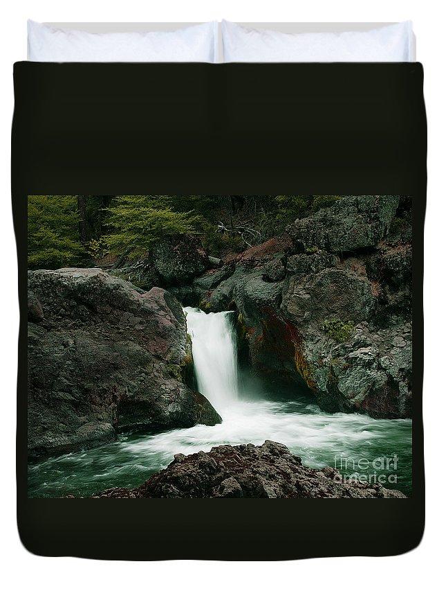 Creek Duvet Cover featuring the photograph Deer Creek Falls by Peter Piatt