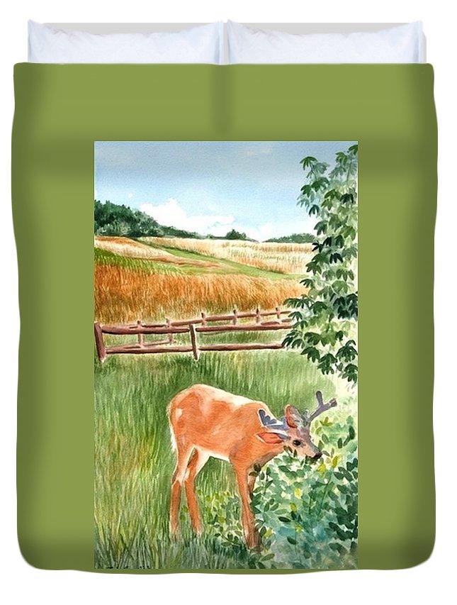 Deer Duvet Cover featuring the painting Deer Eating Leaves by Judy Swerlick