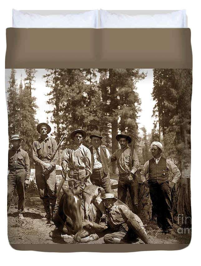 Deer Huters Duvet Cover featuring the photograph Deer Hunters With Rifles Circa 1917 by California Views Archives Mr Pat Hathaway Archives