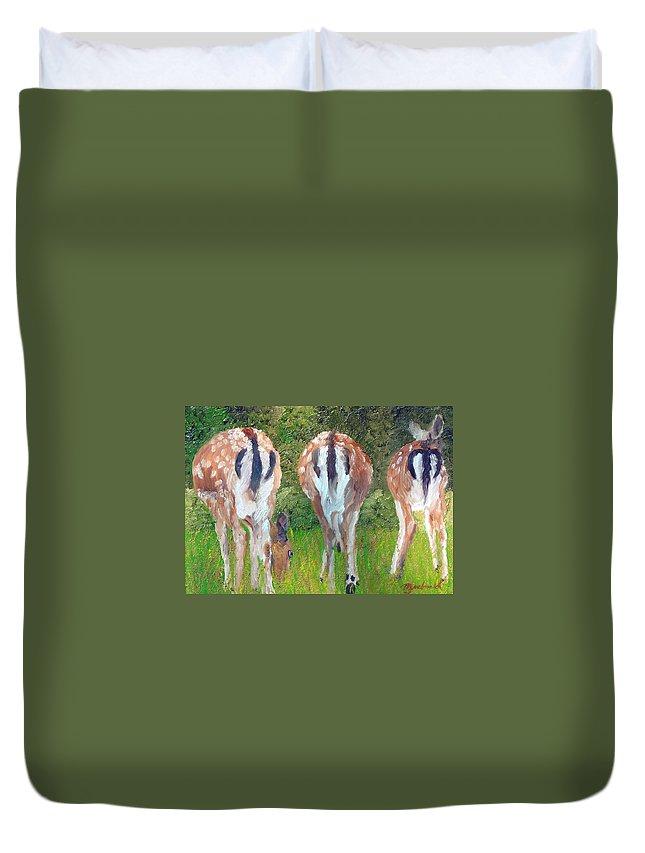 Deer Duvet Cover featuring the painting Deer Moon by Michael Lee