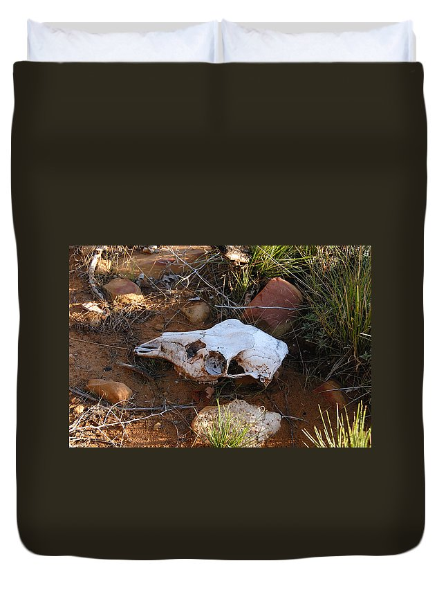 Skull Duvet Cover featuring the photograph Deer Spirit Mesa by David Lee Thompson