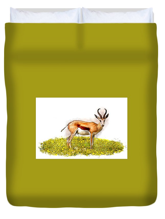 Active Duvet Cover featuring the pyrography Deer Water Color Digital Art by Lakshmikanth Kummari