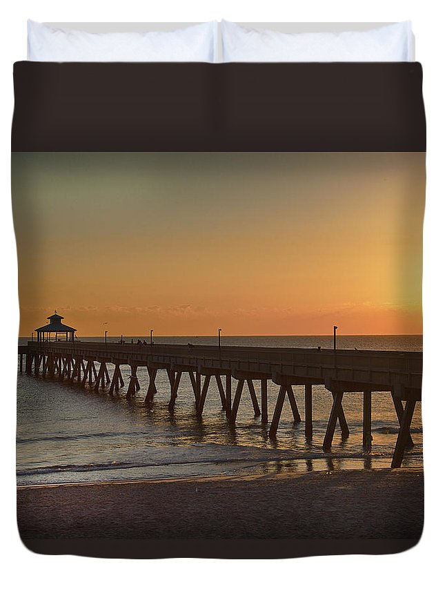 Pier Duvet Cover featuring the photograph Deerfield Pier Sr by Joel P Black