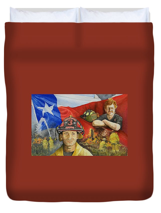 Firemen Duvet Cover featuring the painting Defending Texas by Gale Cochran-Smith