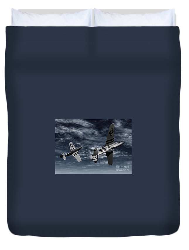 Aircombat Duvet Cover featuring the digital art Defensive Split by Richard Rizzo