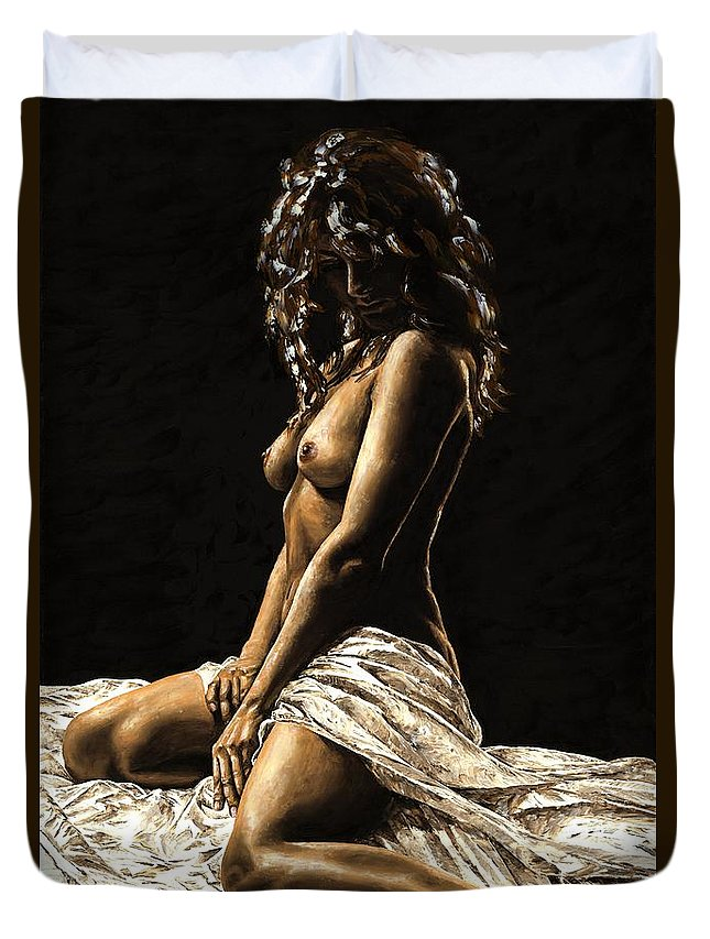 Nude Duvet Cover featuring the painting Defiance by Richard Young