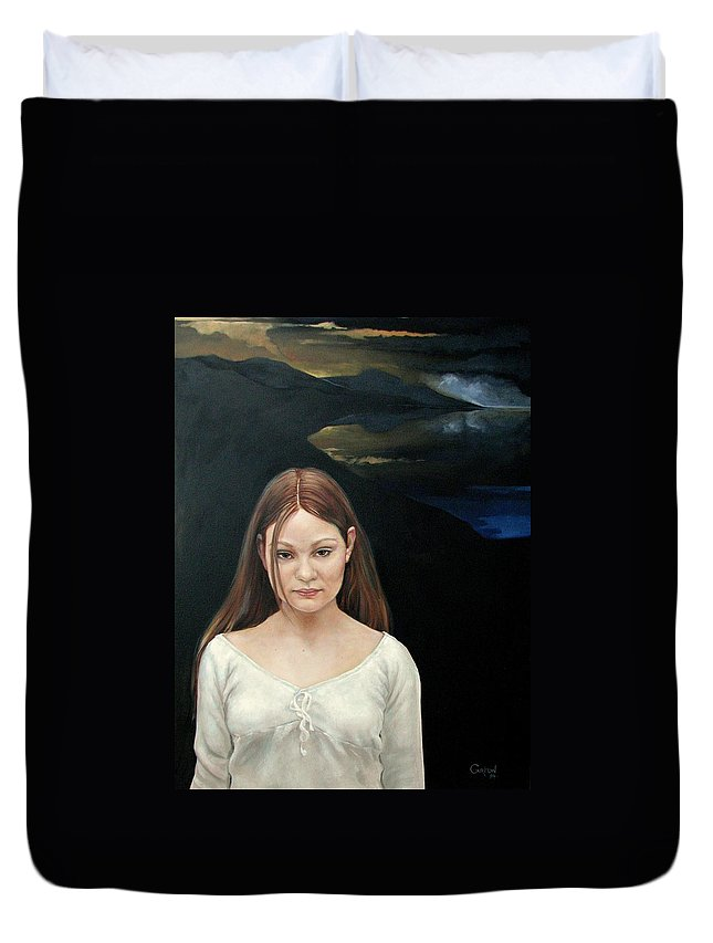 Facial Expressioin Duvet Cover featuring the painting Defiant Girl 2004 by Jerrold Carton