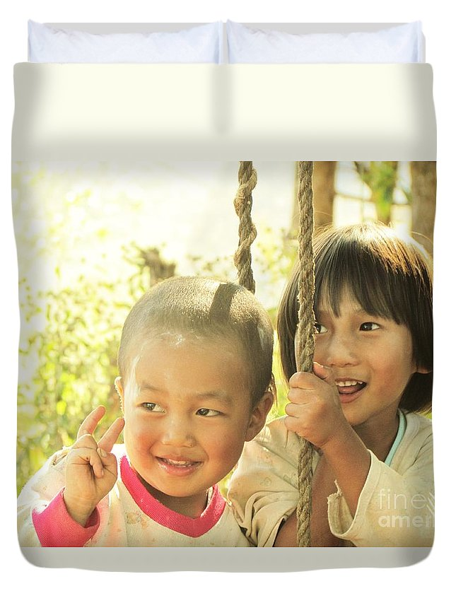 Child Duvet Cover featuring the photograph Dek Doi At Paksam by Sarode Nimmanwattana