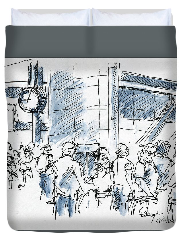 Airport Duvet Cover featuring the drawing Delayed Departure People Waiting At Airport Ink Drawing and Wate by Frank Ramspott