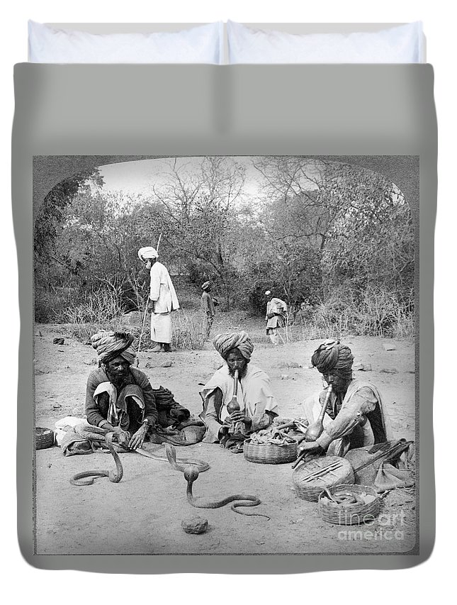 1903 Duvet Cover featuring the photograph Delhi: Snake Charmers by Granger