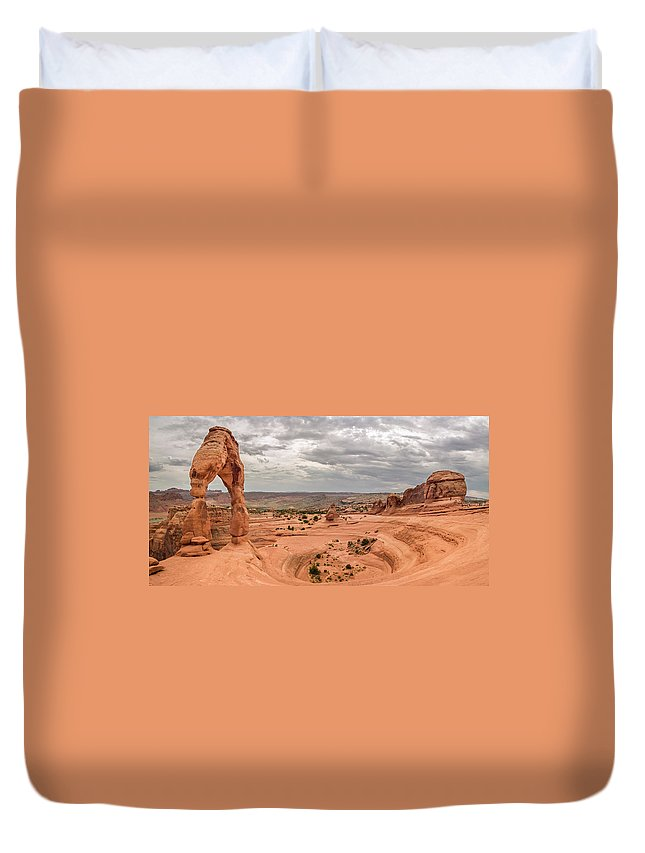 3scape Photos Duvet Cover featuring the photograph Delicate Arch Panoramic by Adam Romanowicz