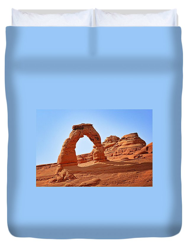 Landscape Duvet Cover featuring the photograph Delicate Arch The Arches National Park Utah by Christine Till
