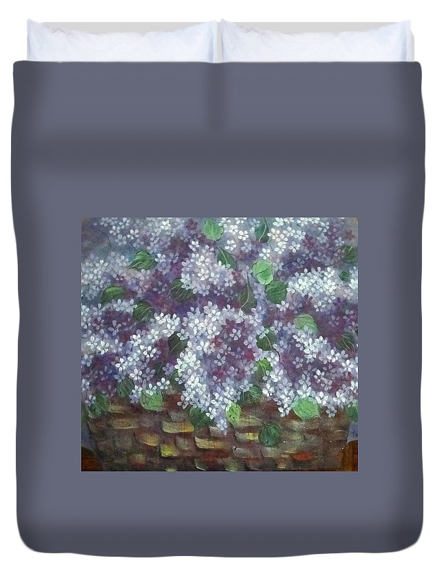 Perfumed Lilacs Greeting Cards Duvet Cover featuring the painting Delicate Perfumed Lilacs by Natalie Holland