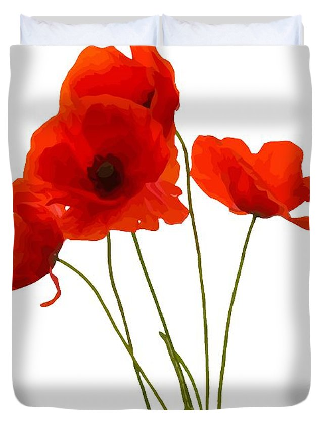 Poppy Duvet Cover featuring the digital art Delicate Red Poppies Vector by Taiche Acrylic Art