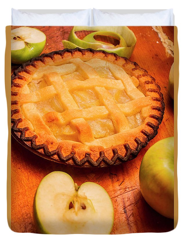 Pie Duvet Cover featuring the photograph Delicious Apple Pie With Fresh Apples On Table by Jorgo Photography - Wall Art Gallery