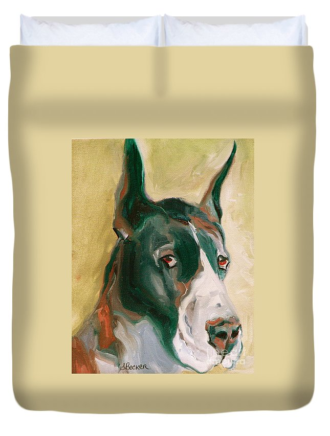 Greeting Cards Duvet Cover featuring the painting Delicious Dane by Susan A Becker