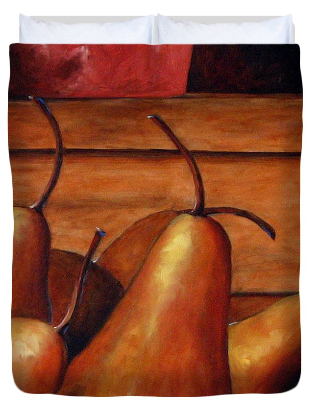 Pears Duvet Cover featuring the painting Delicious Pears by Richard T Pranke