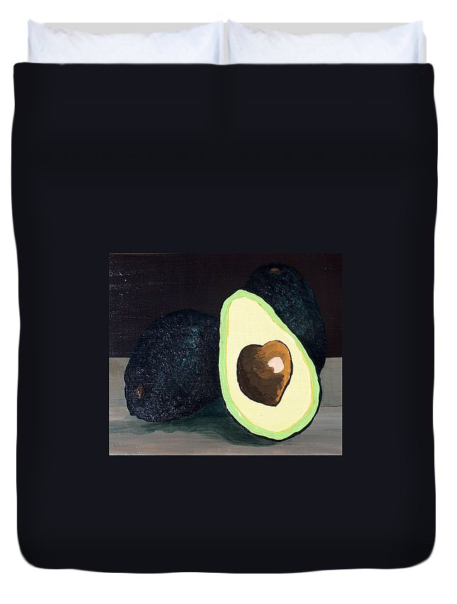 Avocado Duvet Cover featuring the painting Delicious by Racquel Morgan