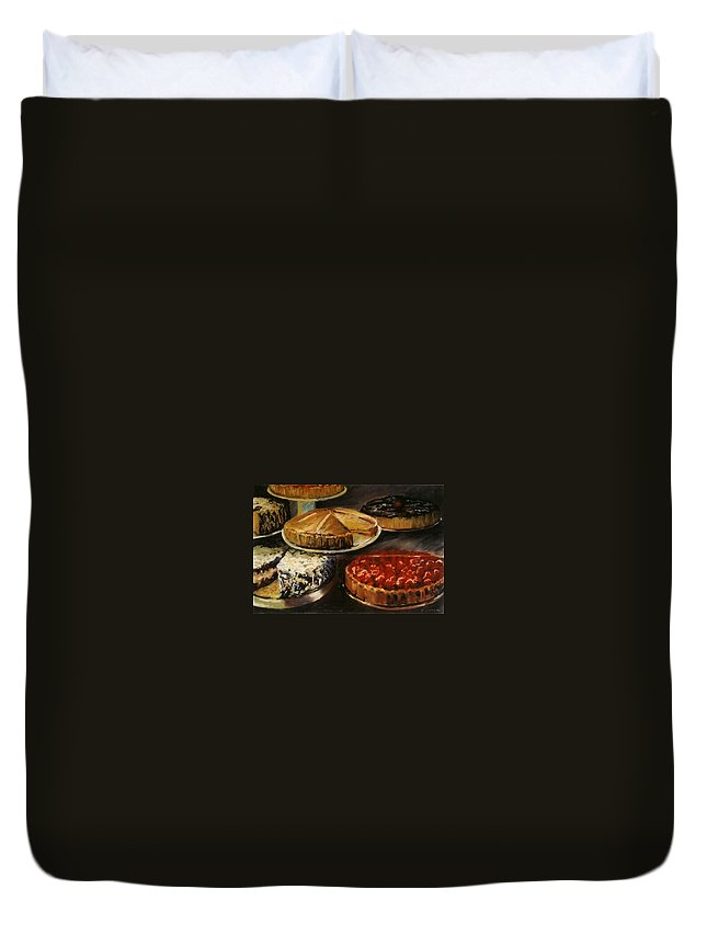 Still Life Food Dessert Pie Delicious Duvet Cover featuring the pastel Delicious Zero Calories by Pat Snook