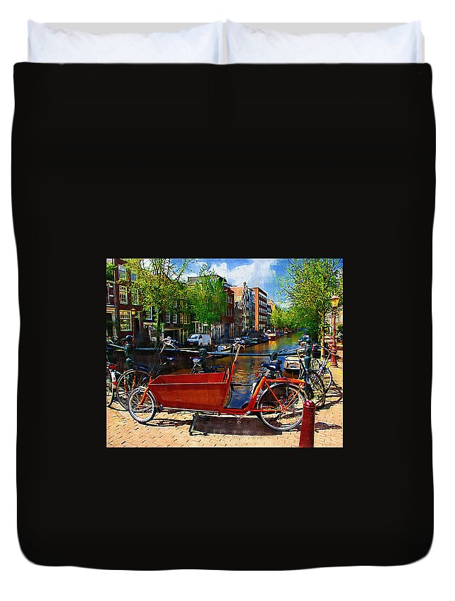 Bike Duvet Cover featuring the photograph Delivery Bike by Tom Reynen