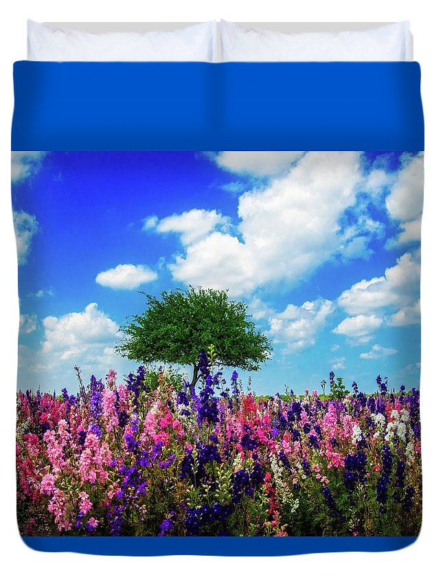 Wildflowers Duvet Cover featuring the photograph Delphinium Daydreams by Lynn Bauer
