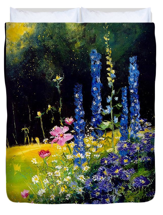 Poppies Duvet Cover featuring the painting Delphiniums by Pol Ledent