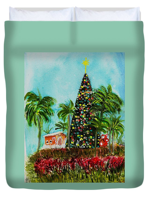 Delray Beach Duvet Cover featuring the painting Delray Beach Christmas Tree by Donna Walsh