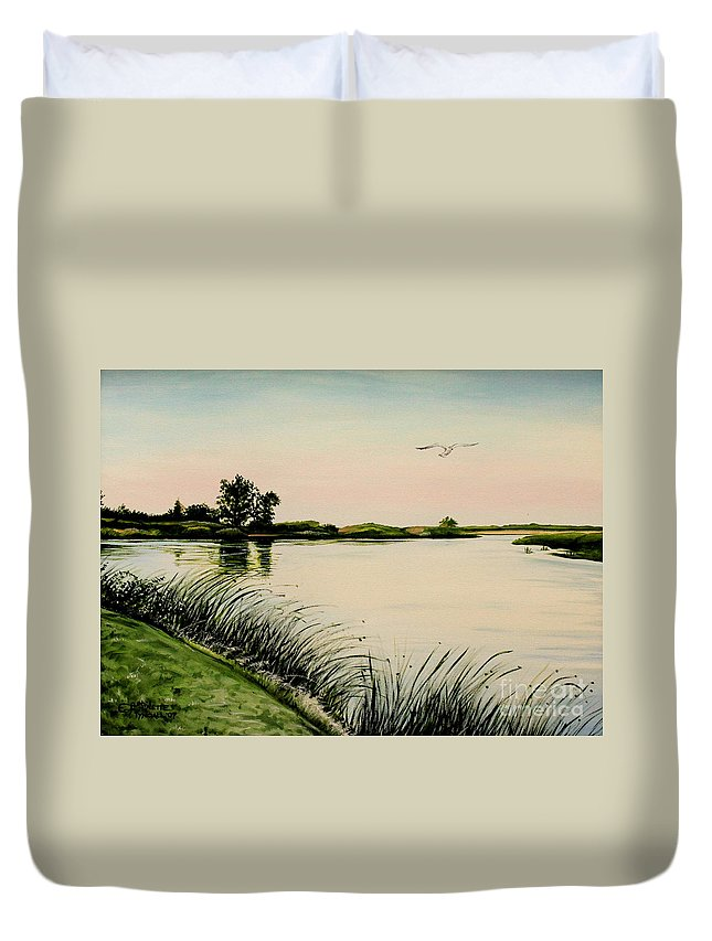 Landscape Duvet Cover featuring the painting Delta At Dusk by Elizabeth Robinette Tyndall