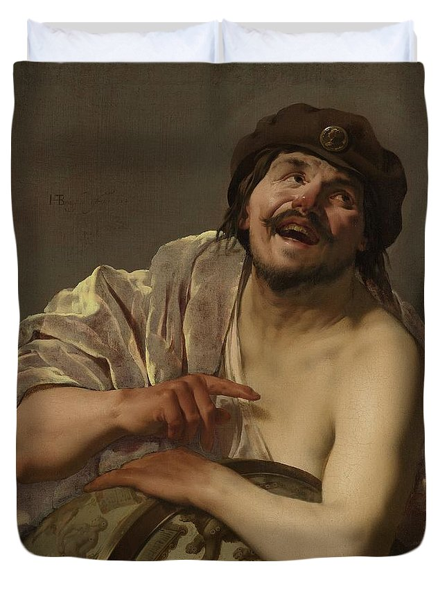 Age Duvet Cover featuring the painting Democritus, 1628 by Hendrick Ter Brugghen