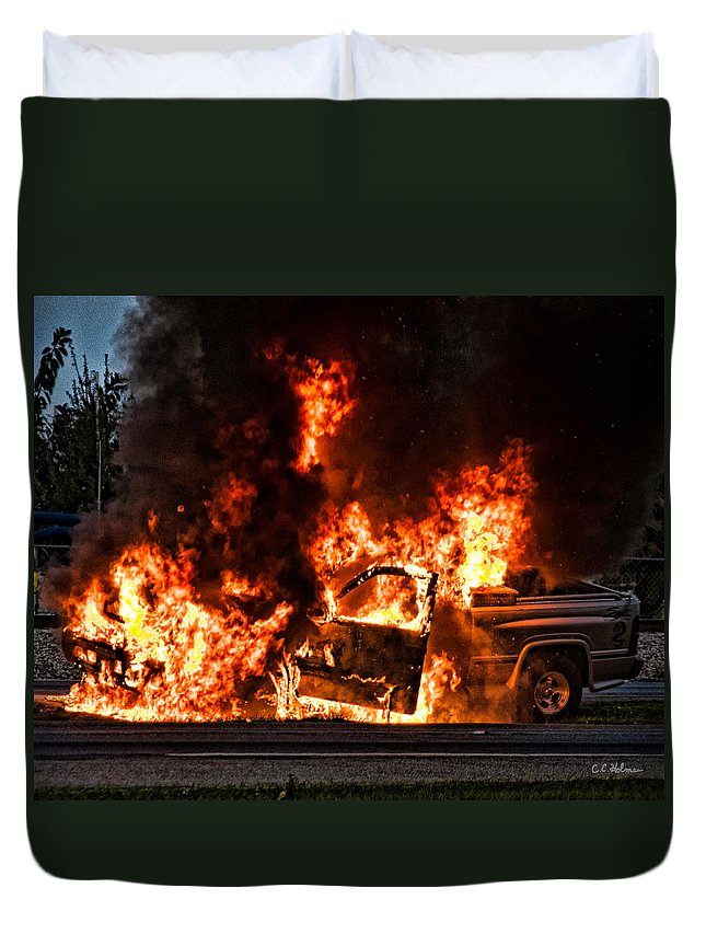 Fire Duvet Cover featuring the photograph Demon Released by Christopher Holmes
