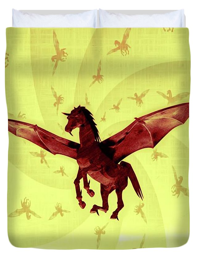 Occult Duvet Cover featuring the digital art Demon Winged Horse by Mary Bassett