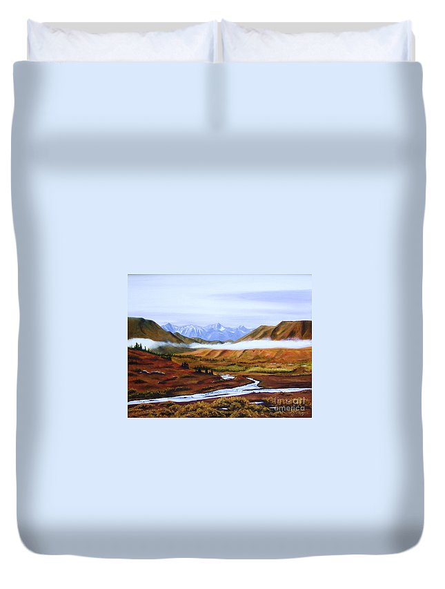 Art Duvet Cover featuring the painting Denali Autumn by Mary Rogers